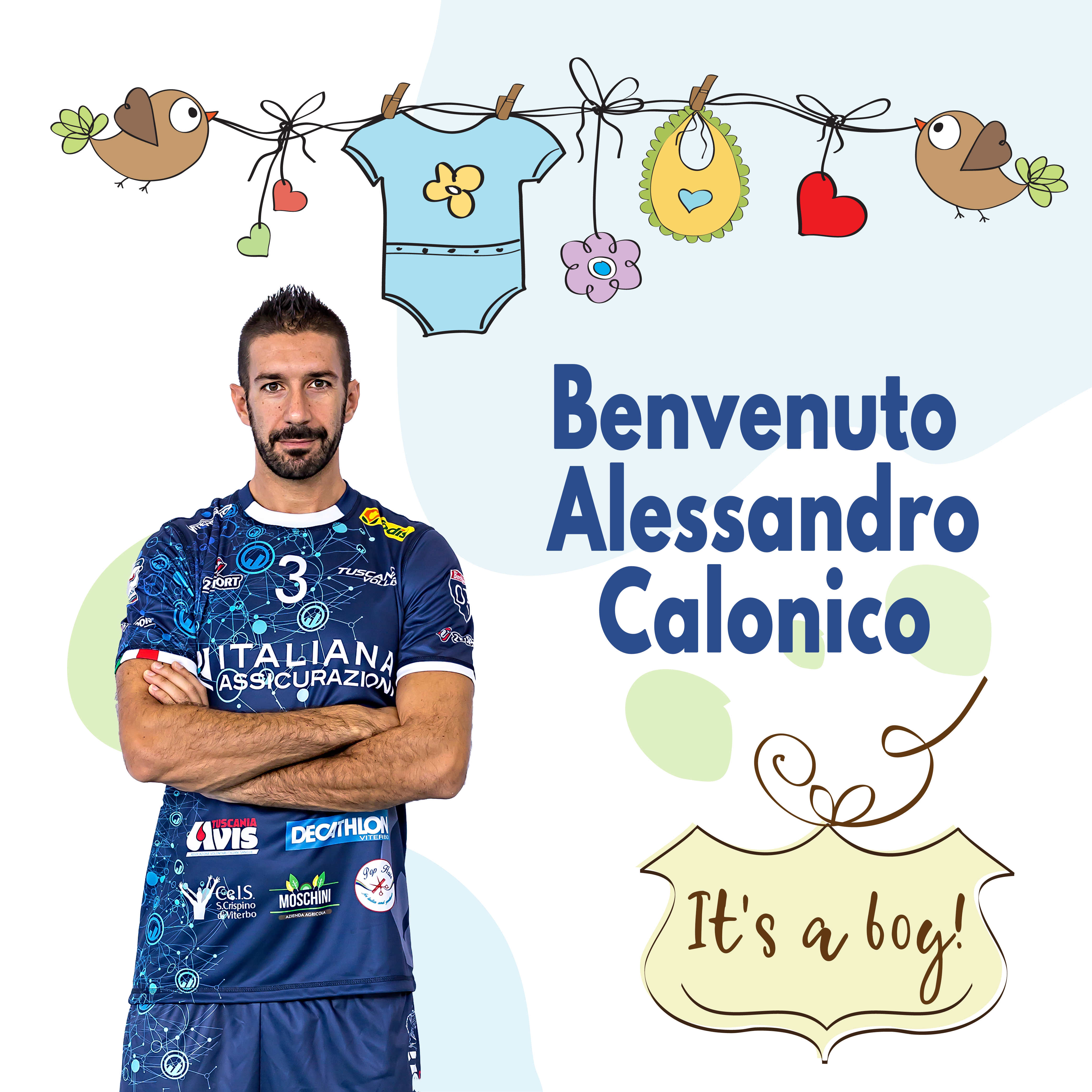 Fiocco azzurro in casa Tuscania Volley. E' nato Alessandro Calonico