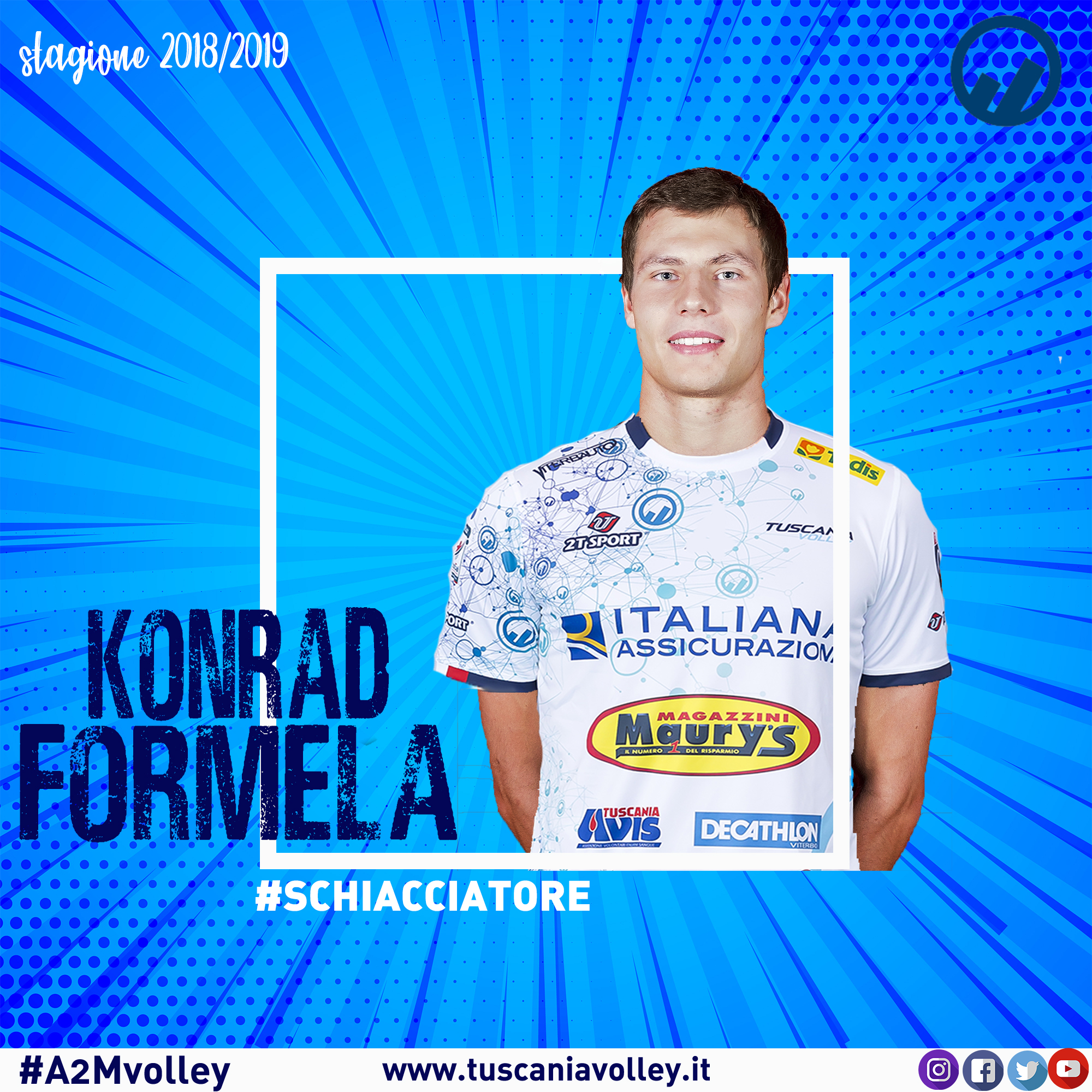 Tuscania Volley, from Poland the outside hitter Kondrad Formela